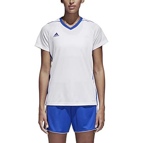 adidas Originals - Camiseta de 3 rayas para mujer (blanco/azul atrevido, X-Small)