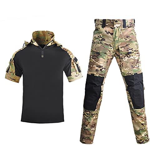 ZED- Traje de Ropa táctica,táctico Chaqueta de Uniforme de Combate Camisa y Pantalones Traje para ejército Militar Airsoft Paintball Caza Juego de Guerra de Camuflaje