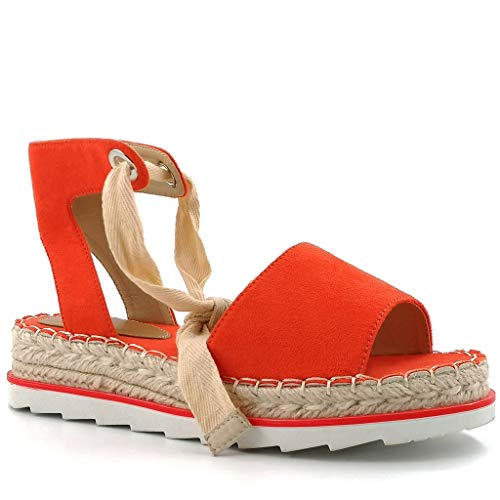 Angkorly - Damen Schuhe Sandalen Espadrilles - Böhmen - Schick - Strand - String Tanga - Bogen - nähen Keilabsatz 4 cm - Orange BL303 T 37