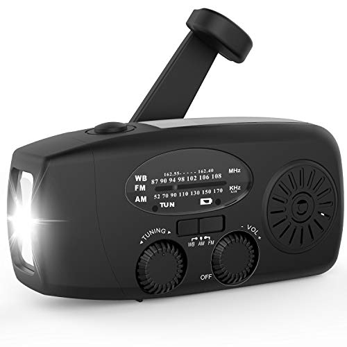 Emergency Hand Crank Radio 2020 Updated Portable Solar Powerd AM/FM/SW/NOAA Weather Radio with Flashlight,Cell Phone Charger,Reading Lamp