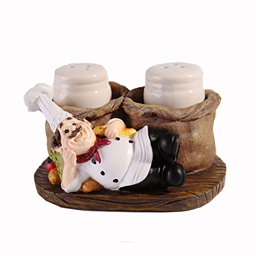 Huachaoxiang Salt Spire Cute Cook Statue, Statue Pepper Bottle Holder for Home Kitchen Decoration Salt and Spreader Mini Matted Cute Chef,3
