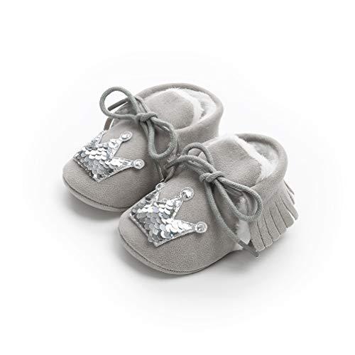 TMEOG Baby SchöNen Krone Quaste Herbst Winter Warme Weiche Sohle Schneeschuhe Weiche Krippe Schuhkleinkind Stiefel (0-6 Monate, Hellgraue Silberne Krone)