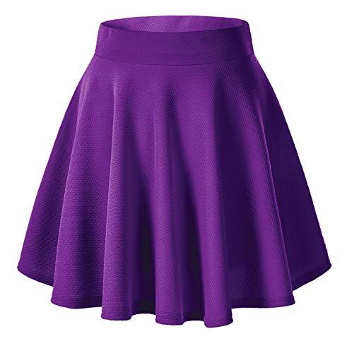 Urban CoCo Women's Basic Versatile Stretchy Flared Casual Mini Skater Skirt (L, Deep Purple)
