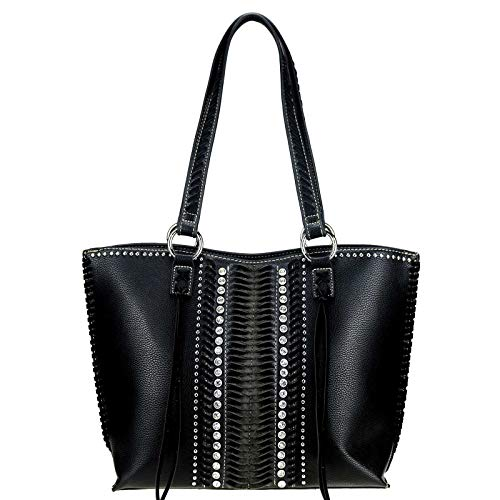 Montana West Large Leather Concealed Carry Purse Tote Bag For Women Western Style Handbag Studded Shoulder Bag