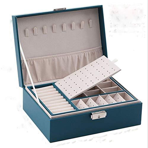 QWSNED Caja de anillo,Caja de joyería de cuero de doble capa,Pendientes prisioneros ornamento caja de almacenamiento,Caja de joyería grande multifunción