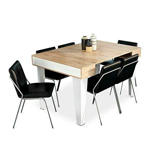 Home Innovation - Table Console extensible, rectangulaire avec rallonges, Nordic KL jusqu'à 140 cm, Style Scandinave pour salle à manger et séjour, Blanc Mat - Chêne brossé. Jusqu´à 6 personnes