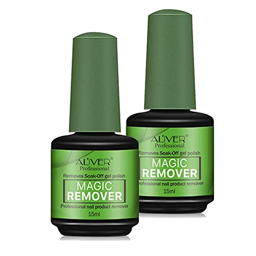 2 Pack Nail Polish Remover, Easily & Quickly Removes Soak-Off Gel Polish, Professional Non-Irritating Nail Polish Remover, 2-3 Minutes Easily & Quickly Don't Hurt Your Nails (Green) (2PACKS, E)