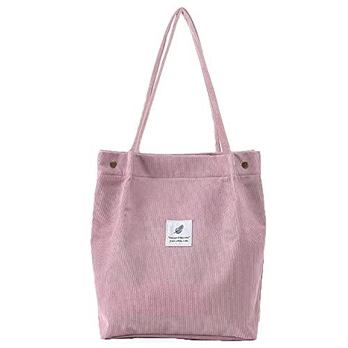 Nircho Bolsa de pana, Bolsa de Playa Grande Tote Bag Mujer Estilo Coreano Bolso de Mano Mujer, Bolsos de hombro Durable, hombro chic bolso bandolera Bolsa de Mano para Trabajo Yoga Playa Vida (rosa)