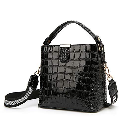 BUKESIYI Damen Tasche Umhängetasche Handtasche Frauen Klein Schultertasche Weekender Lack PU Leder CCDE77224 Schwarz