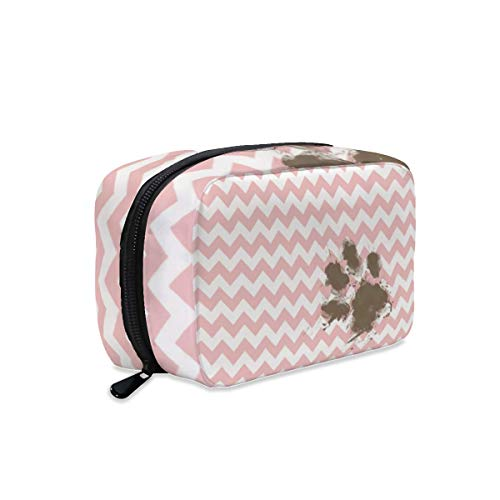 Funny Paw Print on Pink Light Pink Chevron Makeup Bag Zipper Pouch Travel Toiletry Bag Cosmetic Accessories Organizer Purse Large Portable for Women Girls
