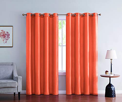 """2pc Solid Faux Silk Grommet Top Curtains for Bedroom Room Darkening Panels Window Treatment Drapes Living Room Window Curtain Panels 54"""" Wide Each Panel 108"""" Total, 2PC 1621-63/ORANGE"""