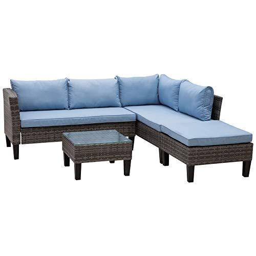 Outsunny Rattan Sitzgarnitur, 4-teilige Sitzgruppe, Gartenmöbelset mit Couchtisch, Metall, Blau, 140 x 70 x 66 cm
