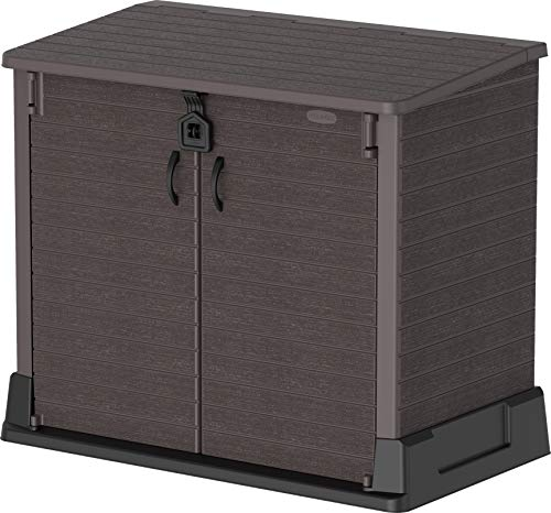 Duramax Cedargrain StoreAway 850L Plastic Garden Storage Shed – Outdoor Lockable Storage Shed – Durable & Strong Construction– Ideal for Tools, BBQs & 2x 120L Garbage Bins, 130 x 74 x 110 cm, Brown