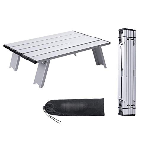 Kleiner Klappbarer Camping-Tisch Tragbarer Strandtisch, Mini-Aluminium-Beistelltisch Leichte Camp-Tische Mit Tragetasche, Für Picknick, Outdoor, Kochen, Strand, Wandern, Angeln Silber