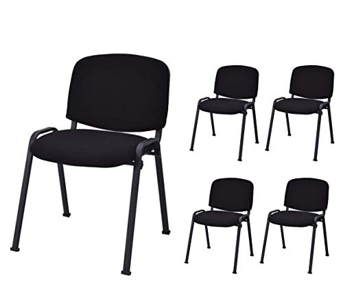 Safstar Set of 5 Conference Chairs, Modern Office Stackable Chair, Guest Chairs for Reception Waiting Room, Black