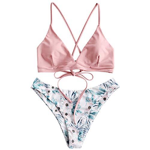 ZAFUL dames gewatteerde bikini set badmode badpak met bloemenpatroon vetersluiting tweedelig