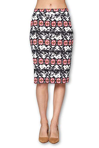 Women's High Waist Knit Stretch Multi Print Office Pencil Skirt (S-3XL) -Made in USA (Black Red, Large)