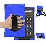HD 10 Case 2018 for Kids,TSQ Full Body Kidsproof Hard Rugged Protection Defender Case with 360 Degree Rotatable Stand/Hand Strap+Shoulder Strap for Amazon Fire HD 10.1 Inch 7th/8th/9th Generation,Blue