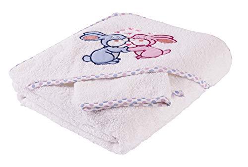 Toalla de baño para niño con capucha, 100 % algodón, 500 g/m², amplia y cómoda, excelente idea de regalo, 90 x 90 cm, de 0 a 6 años (conejo)