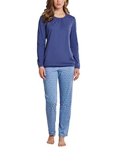 Schiesser Damen Essentials Anzug lang Pyjamaset, Jeansblau, 040