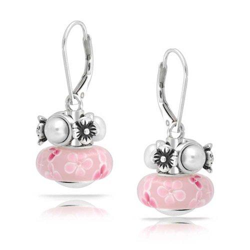2 Wechselbare Charm Rosa Muranoglas Floral Süßwasser-ZuchtBead Ohrringe Leverback Baumeln Sterling Silber