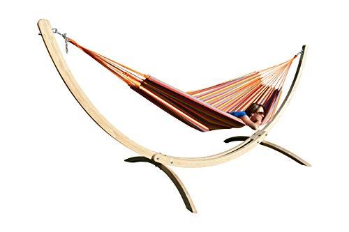 MacaMex Hangmatset Siesta Grande Houten standaard XL met kleurrijke Braziliaanse hangmat Brasil Comfort Primavera katoen