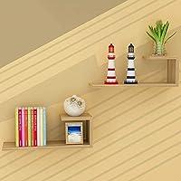 HLL ブックケース、本棚の木製のパネル素材の壁掛けリビングルームの壁棚モダンなミニマリストの装飾的なフレーム、9色,6