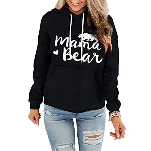 Davenil Womens Graphic Hoodies Comfy Fleece Long Sleeve Hooded Sweatshirt Pullover for Women Casual Mama Bear Tops with Pocket Black Size S