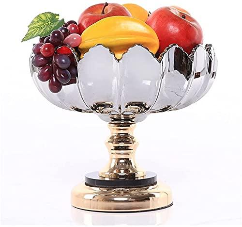 Frutero Chino Fruta tazón de Fruta Cesta de Frutas Placa Fruta Creativa Moderna Fruta Placa Sala de Estar casa Plato Dulce decoración del hogar ZSMFCD (Color : Light Grey, Size : 14 * 22 * 24cm)
