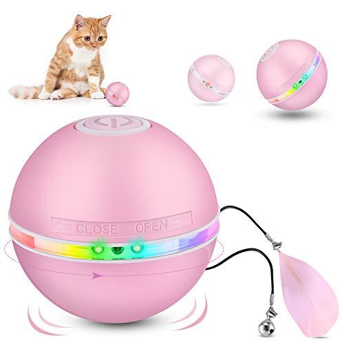 DazSpirit Interaktives Katzenspielzeug Elektrisch Katzenspielzeug Ball Mit Led-Licht, Elektrischer Katzenball Interaktive Ball Spielzeug Für Katzen Hunde, Selbstdrehender 360-Grad-Ball, USB Aufladbar