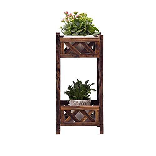 YINUO Boîte à fleurs en bois anti-corrosion Bac à fleurs en bois massif Balcon extérieur Pot de fleurs Rack Grille Clôture Clôture Cloison Support de fleurs (Color : A, Size : 35x30x74cm)