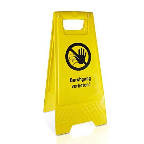 Betriebsausstattung24® Warnaufsteller Durchgang verboten! | Kunststoff | Gelb | Höhe 61 cm | zusammenklappbar | Viele Verschiedene Motive