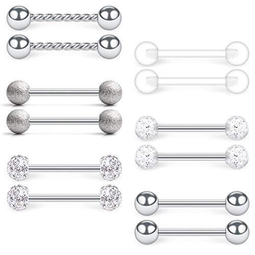 VFUN 14G Chirurgenstahl & Bioflex Piercing Zungenpiercing Nippelpiercing Brustwarzenpiercing Körper Schmuch Piercing Retainer 12 Stück - Silber