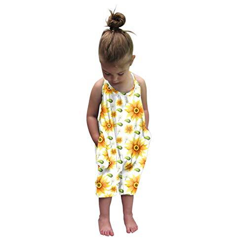 Kleinkind Mädchen Baby Kinder Overall Einteiler Solid Strap Strampler Sommer Outfits Gr. 6-12 Monate, weiß