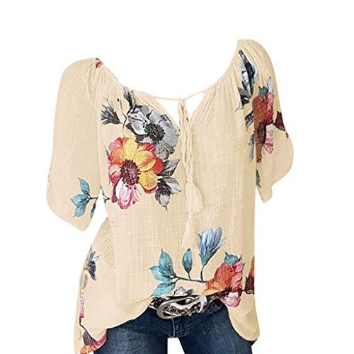 Momoxi Damen Sommer Casual Blumendruck Bluse Kurzarm Loose Top Shirt Tee Chiffon Bluse Blouse Print Oberteil Lady-fit Tank Tops Gelb 2XL