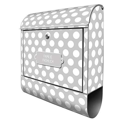 Banjado Design Briefkasten personalisiert mit Motiv Punkte Grau | Stahl pulverbeschichtet mit Zeitungsrolle | Größe 39x47x14cm, 2 Schlüssel, A4 Einwurf, inkl. Montagematerial