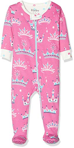 Hatley Organic Cotton Footed Sleepsuit Pyjama, Rose (Pretty Princesses 650), 12-18 Mois (Taille Fabricant: 12M-18M) Bébé Fille