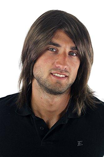 Peluca masculina, para hombre, pelo largo, juvenil, moderno, informal, castaño...