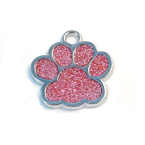 Storerine Niedliche Mini Shine Paw Dog Cat ID Namensschilder Pet Schmuck Halskette Hunde- und Hundeausweis-Farbglasur helle blinkende Fußhundekarte