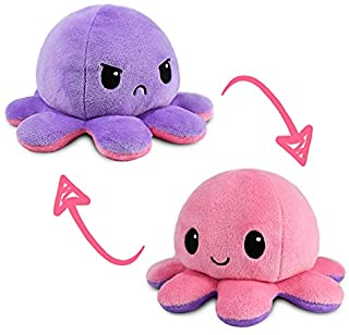 TeeTurtle | The Original Reversible Octopus Plushie | Patented Design | Light Pink and Light Purple | Show Your Mood Witho...