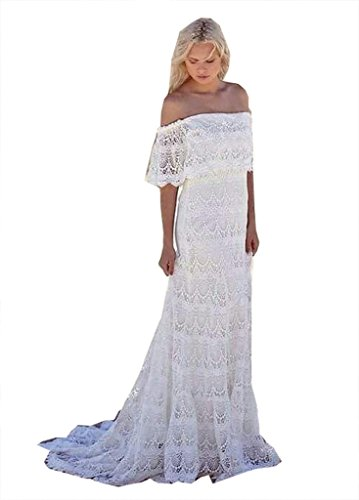 Fanciest Women's Bohemian Wedding Dresses Lace Wedding Dress Beach Bridal Gowns White (Apparel)