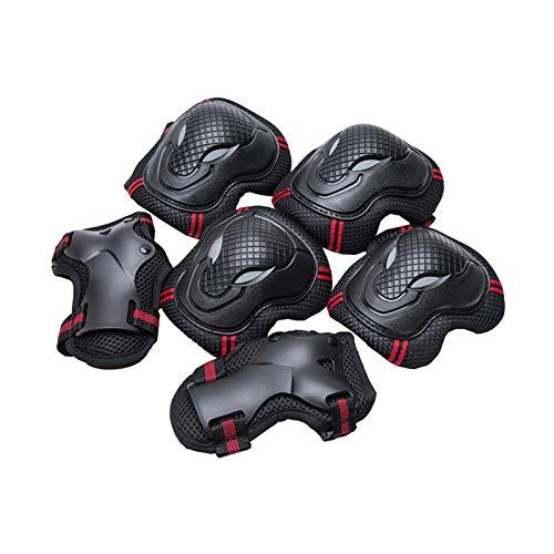 MMI-LX LCONG Rodilleras para patinaje, 6 piezas de codo de mano para la muñeca Kit de protección para monopatín, ciclismo, scooter, esquí (color: negro y azul, tamaño: M)