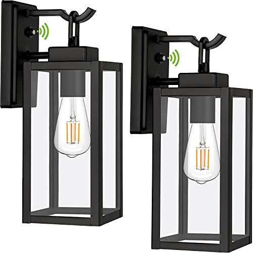 Dusk to Dawn Outdoor Wall Lantern Exterior Wall Light, Matte Black Wall Sconce Lighting Fixtures, Architectural Porch Light with Clear Glass Shade ETL Listed for Entryway, Front Door, 2 Pack
