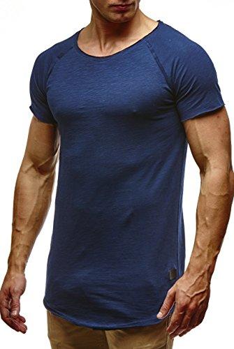 Leif Nelson Herren Sommer T-Shirt Rundhals-Ausschnitt Slim Fit Baumwolle-Anteil Moderner Männer T-Shirt Crew Neck Hoodie-Sweatshirt Kurzarm lang LN6339 Dunkelblau Medium