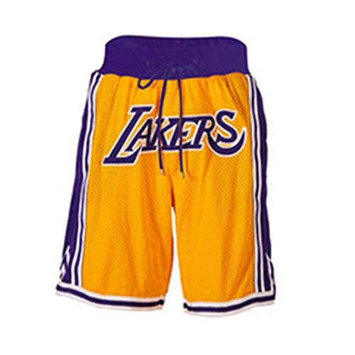 UIQB Herren Jersey Lakers James Basketballhose # 23 Herren Shorts Gelbes Stickerei Training Spiel Fünf-Punkt-Hosen Lakers Shorts-XL