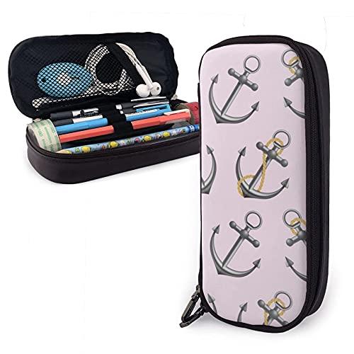 Estuche para lápices de cuero con diseño de anclas náuticas vintage, diseño rosa, de gran capacidad, duradero, con cremallera, estuche para lápices, almacenamiento, maquillaje, cosméticos