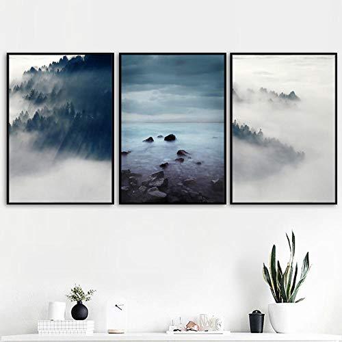 OLGKJ Foggy Mountain Forest SeeTeilige Riff Steinwand Gemälde Leinwand Bild Nordic Poster Und Kunstdrucke Wandbilder Wohnzimmer Esszimmer Dekor 40×60cm×3 Rahmenlos