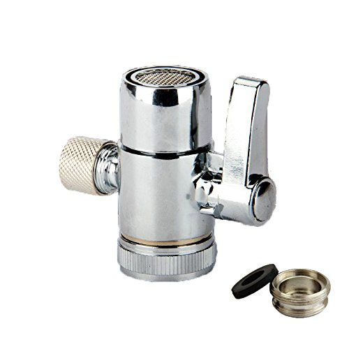 Weirun Kitchen Bathroom Sink Faucet Water Filter Diverter Valve for Push on 3/8 inch Tubing Replacement Part Adapter with M22 X M24 Connector ,Polished Chrome