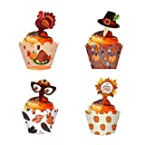Various Styles - MorTime 48 PCS Thanksgiving Cupcake Decoration Set includes 24 various Toppers & 24 various Wrappers. You can give full play to your imagination and creativity by matching different wrappers and toppers. The adorable decorations will...