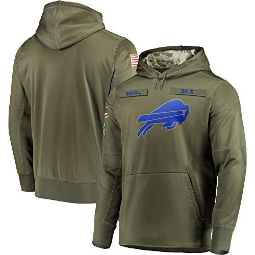 LAIDAN Sudadera con Capucha De Fútbol De La NFL con Buffalo Bills Logo Verde del Ejército 2019 Salute To Service Sudadera De Hombre Jersey Ropa De Entrenamiento De Rugby